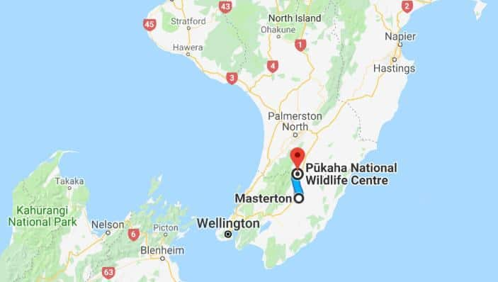 Map showing location of Pukaha National Wildlife Centre
